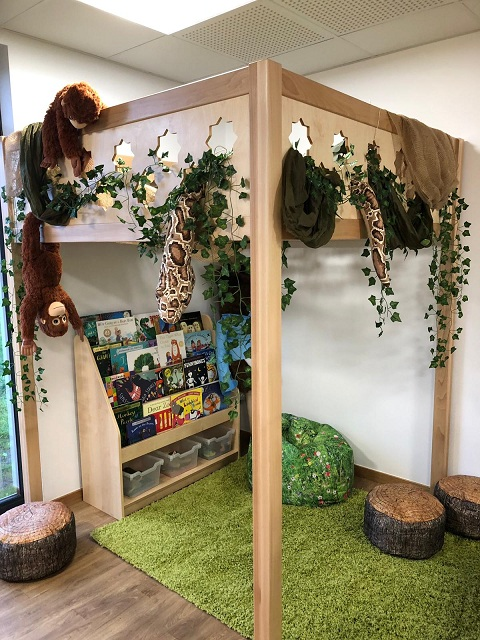 Our forest-themed reading corner at Sherston Pre-School